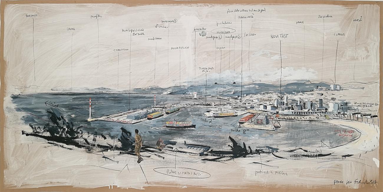 Trieste e il suo porto nel 2040 – Tecnica mista su tela – 200×100